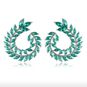 Crystal green wreath olive branch stud  earrings